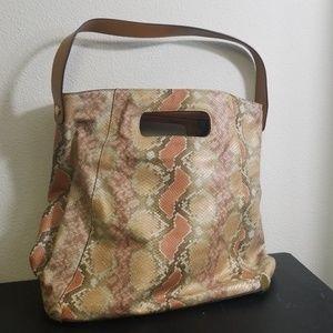 Vince Camuto snakeskin pastel pink cream purse